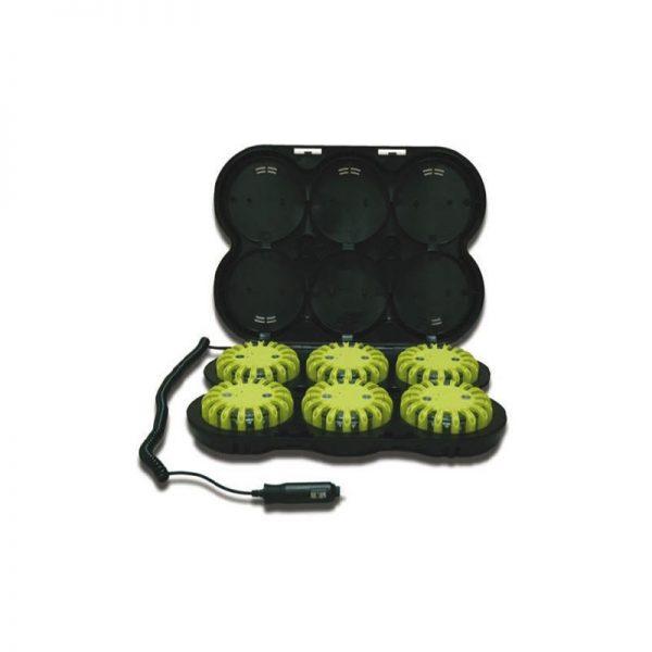 Baliza señalización vial 6 uds, azul + maletín cargador 12V